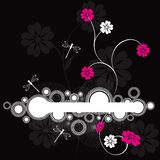 Frame w Floral and Dragonfly vector illustration