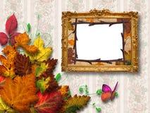 Frame on the wall with autumn foliage Stock Photos