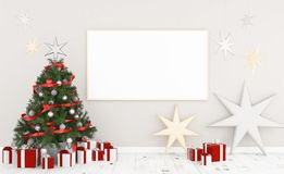Frame on a wall with christmas. White frame on a wall with christmas decoration 3d rendering Royalty Free Stock Photo