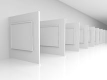 Frame on the wall of the exhibit. Abstract background. 3D render. Picture frames or photos on the wall of the exhibition hall Stock Images