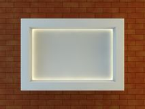 Frame on the wall with light lamps. 3D Royalty Free Stock Photography