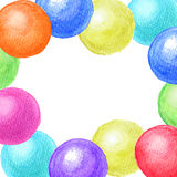 Frame of watercolor balls. Colorful frame of watercolor balls Royalty Free Stock Photography