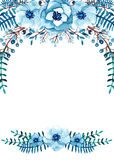 Frame with Watercolor Blue Flowers, Berries, Leaves stock illustration