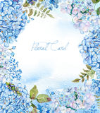 Frame of watercolor blue hydrangea, lavender. Royalty Free Stock Photo