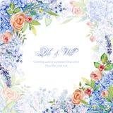 Frame of watercolor blue hydrangea, lavender, pink roses. stock illustration