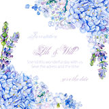 Frame of watercolor blue hydrangea, lavender. Stock Photo