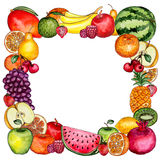 Frame with Watercolor Bright Fruit and Berries vector illustration