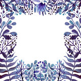 Frame With Watercolor Deep Blue Leaves, Ferns And Flowers Stock Images