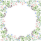 Frame with watercolor doodle plants with berries Stock Images