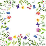 Frame with watercolor doodle plants and flowers Stock Photos