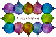 Frame of Watercolor Hand Drawn Christmas Balls. Vector illustration Stock Photos