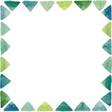 Frame with Watercolor Little Bright Green Triangles Royalty Free Stock Photos