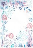 Frame With Watercolor Pink Flowers And Light Blue Leaves stock illustration