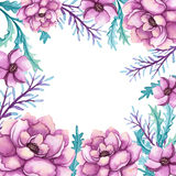 Frame With Watercolor Pink Peonies And Green Leaves vector illustration