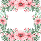 Frame With Watercolor Pink Poppies And Green Fern. Square Frame With Watercolor Pink Poppies And Green Fern Stock Photo