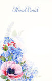 Frame of watercolor poppies and hydrangea. Stock Photography