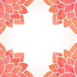 Frame with watercolor red flower pattern. Vector background Stock Photo