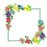 Frame of watercolor simlpe flat flowers Royalty Free Stock Photography