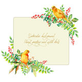 Frame of watercolor yellow bird and some leaves, berries. Stock Image