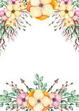 Frame With Watercolor Yellow Flowers, Branches And Arrows vector illustration