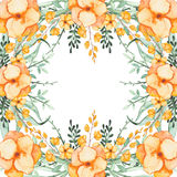Frame With Watercolor Yellow Flowers and Light Green Herbs Stock Image