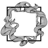 Frame with wave line curls. Monochrome stripes black and white texture Vector Illustration
