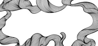 Frame with wave line curls. Monochrome stripes black and white texture Stock Illustration