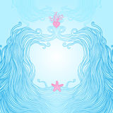Frame with waves, heart and starfish Royalty Free Stock Image