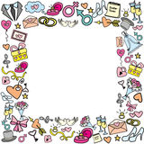 Frame with wedding objects. Hand drawing, vector illustration stock illustration