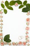 Frame for wedding photo. Made from roses Royalty Free Stock Images