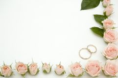 Frame for wedding photo. Made from roses royalty free stock photography