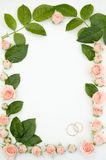 Frame for wedding photo. Made from roses stock photos