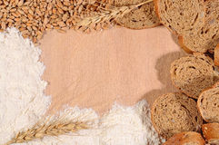 Frame of white flour, wheat and bread Royalty Free Stock Photos