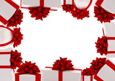Frame from white gifts with red ribbons Royalty Free Stock Image