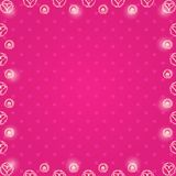 Frame with White Hearts in Balls. Frame with White Hearts in Ball over Pink Background Stock Image
