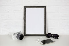 Frame White Mock Up and Modern Accessories. Stock Photo