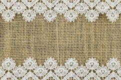 Frame of white napkin on linen background Stock Images