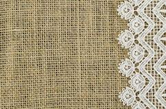 Frame of white napkin on linen background Royalty Free Stock Image