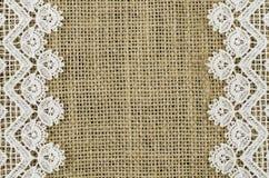 Frame of white napkin on linen background Royalty Free Stock Images