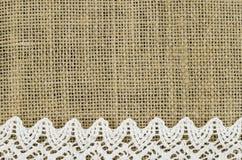 Frame of white napkin on linen background Stock Photo