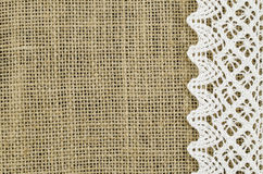 Frame of white napkin on linen background Royalty Free Stock Photos