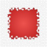 Frame White Puzzles Pieces Red - Vector Jigsaw Royalty Free Stock Photos