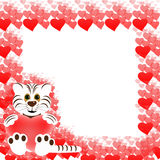 Frame with white tiger and hearts Royalty Free Stock Image