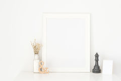 Frame white on white wooden table. Put walls white background,Dried Flowers Place the frame royalty free stock photos