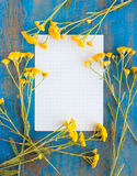 Frame of wild flowers and  paper Royalty Free Stock Photo