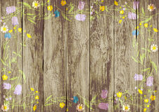 Frame of wild flowers on a wooden background.vector illustration. Frame of wild flowers on a wooden background Stock Photography