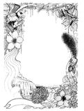 Frame of wildlife bird squirrel butterfly with water fall and fl. Ora landscape has flower and tree, Art illustration imagination contemporary hand drawn pencil Stock Images