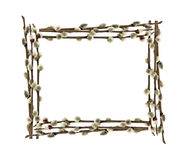 The Frame Of Willow Branches. Royalty Free Stock Photo