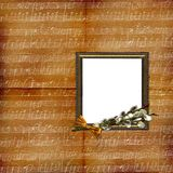 Frame with willow on grunge musical background Stock Photography