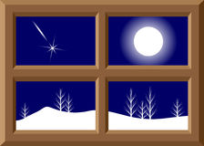 Frame of a window and winter landscape. A wooden frame of a window and a winter landscape, fir-trees, a snowdrift and the falling star Royalty Free Stock Image